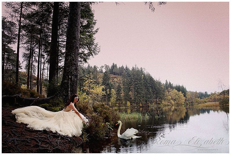Swan Lake, romantic Scottish wedding Inspiration